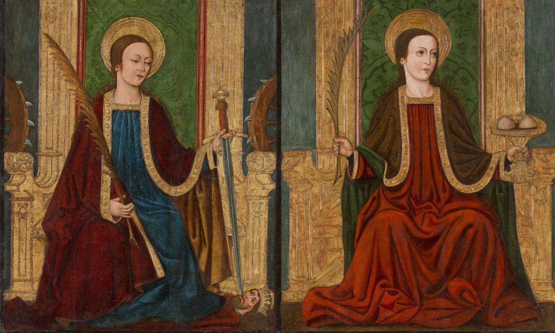 Santa Caterina d'Alexandria i Santa Àgata de Catània, Mestre d'Armisén, darrer quart del segle XV, Aragó, tremp sobre fusta. Col·l. Dr. Jesús Pérez-Rosales