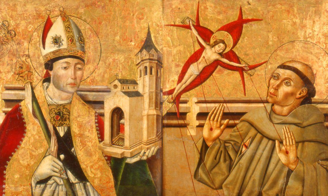 Sant Agustí, bisbe i Sant Francesc, Mestre de Los Balbases (Burgos) (atribuït), final del segleXV - principi del segle XVI, Castella, tremp sobre fusta. Col·l. Dr. Jesús Pérez-Rosales
