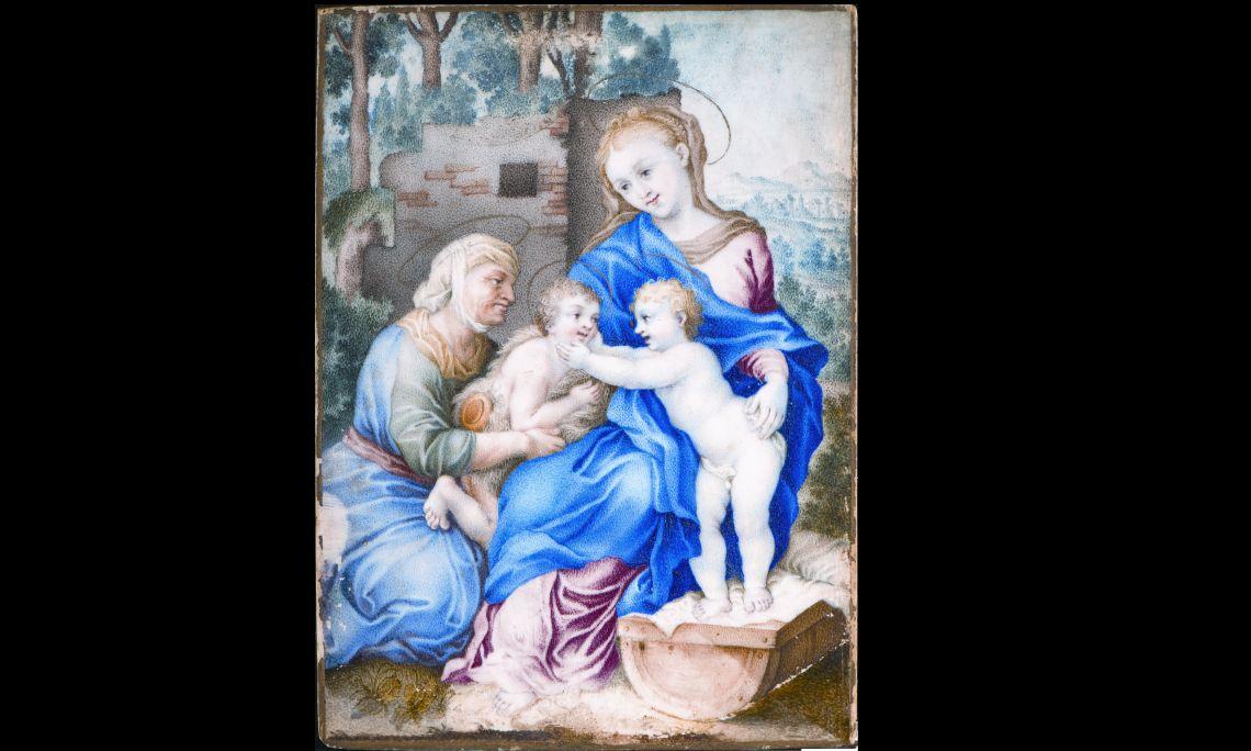 Santa Isabel, la Verge Maria, el Nen Jesús i sant Joan Baptista, anònim francès, primer quart del segle XVII, tremp sobre ivori. Col·l. Dr. Jesús Pérez-Rosales