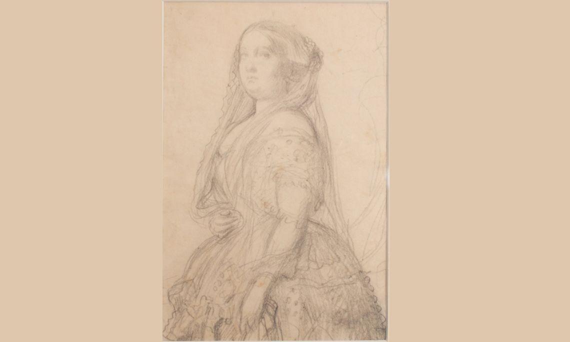 Retrat d'Isabel II, reina d'Espanya, Federico de Madrazo i Kuntz, c. 1854-1855, llapis sobre paper