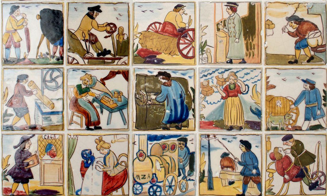 """Els """"adelantos"""" del segle XIX, Ramon Casas i Carbó, c. 1901-1902, pisa esmaltada i policromada. Col·l. Deering"""