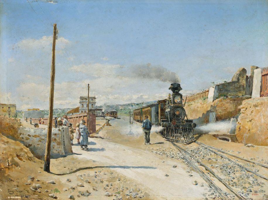 L'estació de Sitges, Joan Roig i Soler, 1882, Sitges, oli sobre fusta. Fons Cau Ferrat