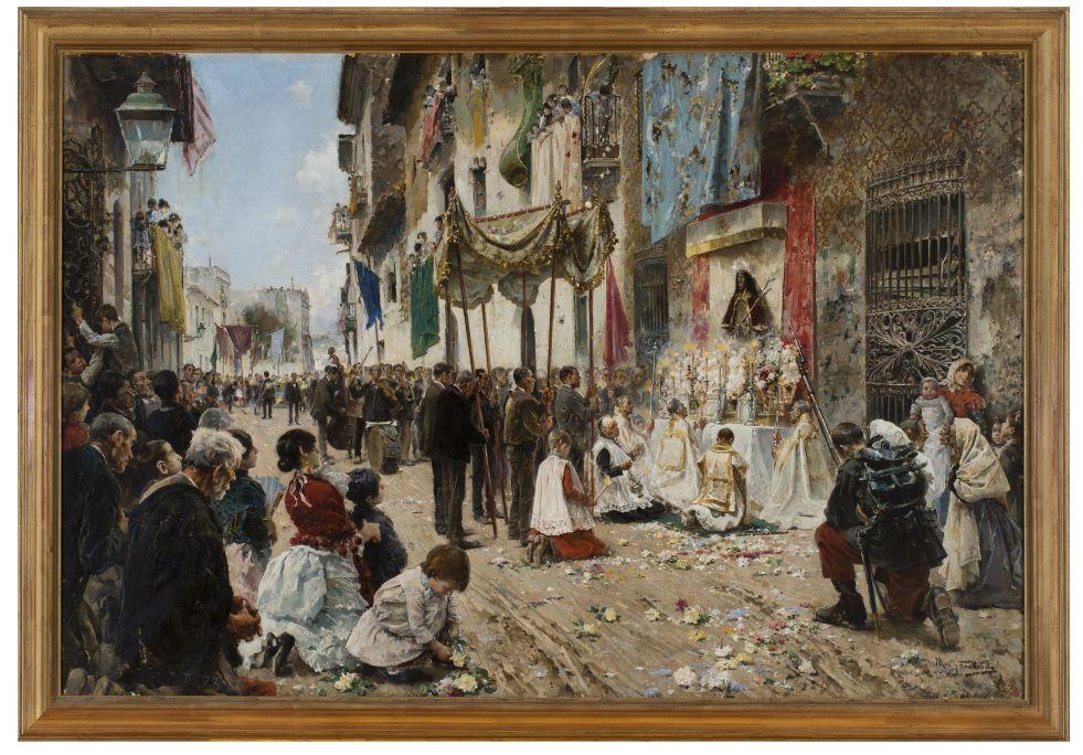 La procession de la Fête-Dieu, Arcadi Mas i Fondevila, 1887, Sitges, huile sur toile. Fonds Cau Ferrat.
