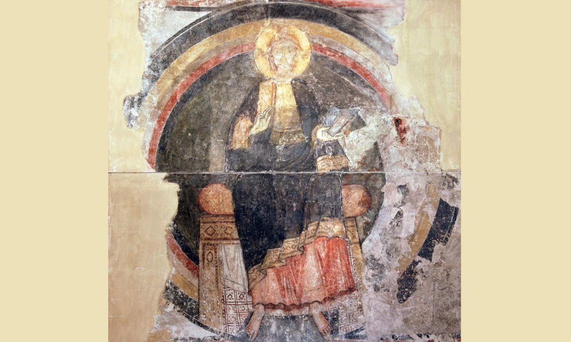 Maiestas Domini, cercle del Mestre de Pedret, primer quart del segle XII, església parroquial de Santa Maria de Cap d'Aran (Tredós, la Vall d'Aran), Catalunya, pintura mural al fresc traspassada a llenç. Col&am