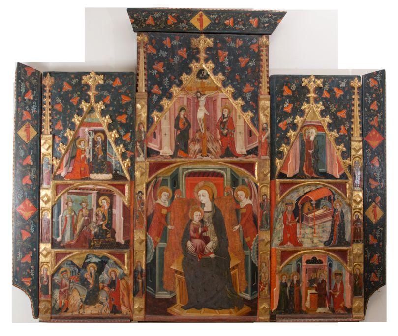 Retaule de la Mare de Déu, anònim lleidatà, darrer quart del segle XIV, església de la diòcesi de la Seu d'Urgell, possiblement de la localitat de Torà del Riubregós (Segarra, Lleida), Cat