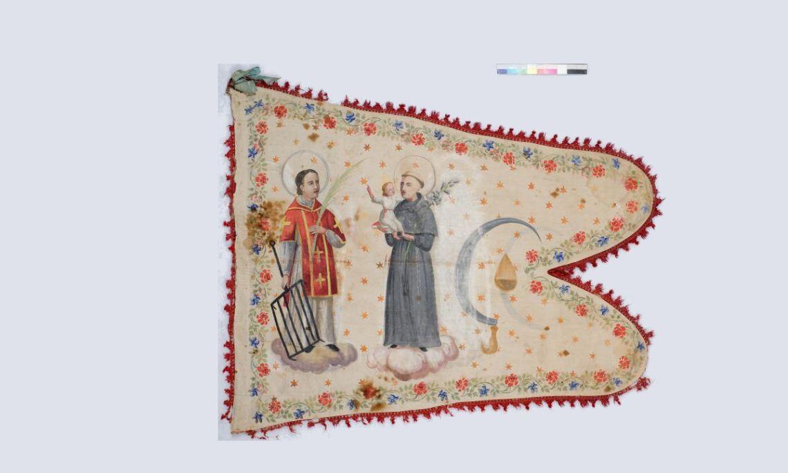 Bandera, siglo XVII, tafetán de lino pintado. Donación Dr. Enric Cat. © Museo de Historia de Cataluña