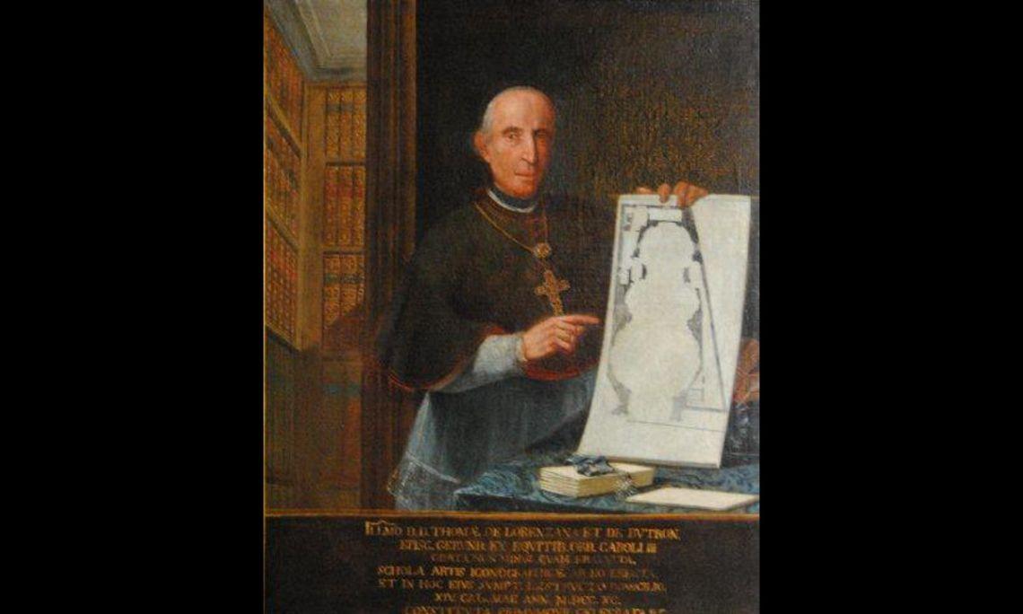 Retrat del bisbe Lorenzana, Manuel Tremulles Roig (Barcelona 1715-1791), 1790, oli sobre tela, 144 × 119 cm. Cedit per l'Institut Jaume Vicens Vives de Girona