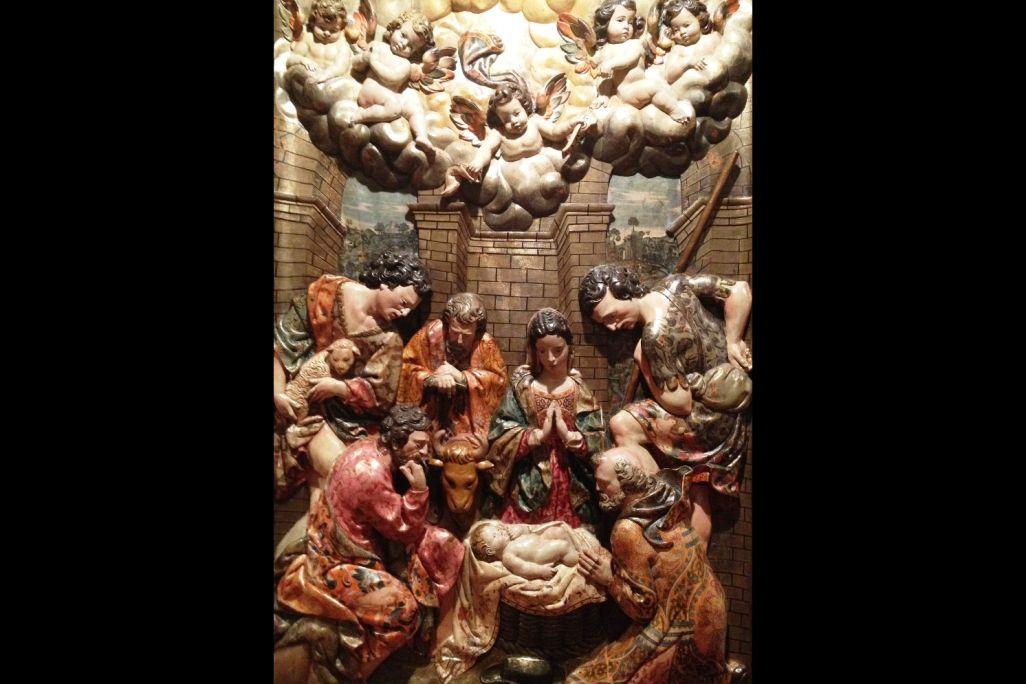 Adoració dels pastors, Joan Grau (escultor), 1642, retaule del Roser de l'església de Sant Pere Màrtir, convent dels Dominics, Manresa