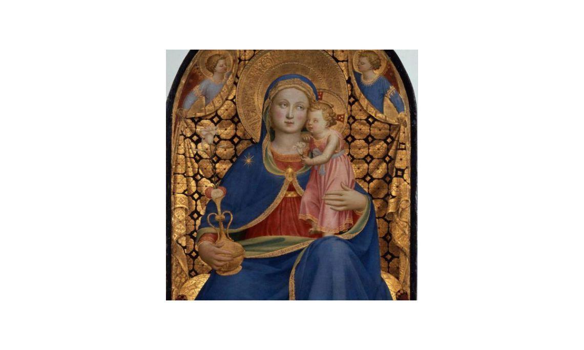Virgen de la Humildad, Giovanni da Fiesole llamado 'Fra Angelico', siglo XV.Temple y dorado con pan de oro sobre tabla, 147 x 91 x 20 cm.