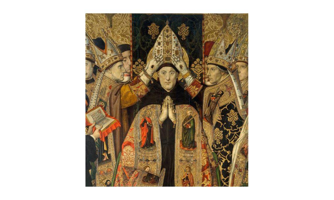Consagración de san Agustín,Jaume Huguet, siglo XV.Temple, relieves de estuco y dorado con pan de oro sobre tabla,250 x 193 x 9,5 cm.