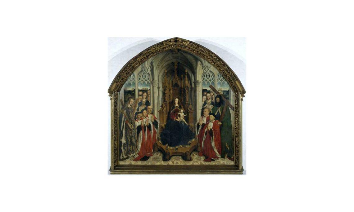 The Virgin of the Consellers,Lluís Dalmau,15th century.Oil on oak wood,316 x 312.5 x 32.5 cm.