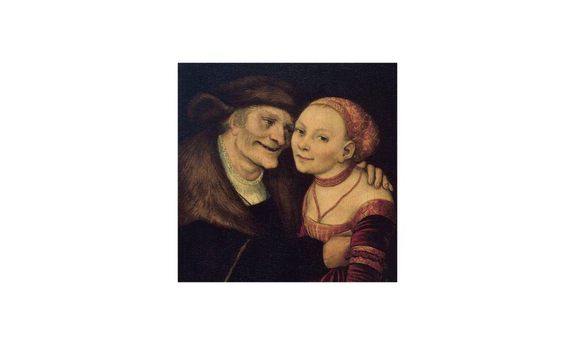 Parella amorosa desigual,Lucas Cranach, 1517. Oli sobre fusta,27,3 x 18 cm.