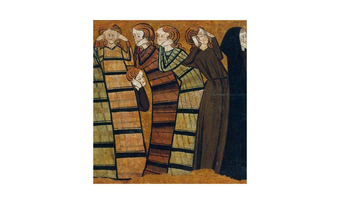 Plañideros, Anónimo castellano, siglo XIII (Detalle). Temple sobre pergamino aplicado a un soporte de madera,53 x 87,8 x4,5 cm.