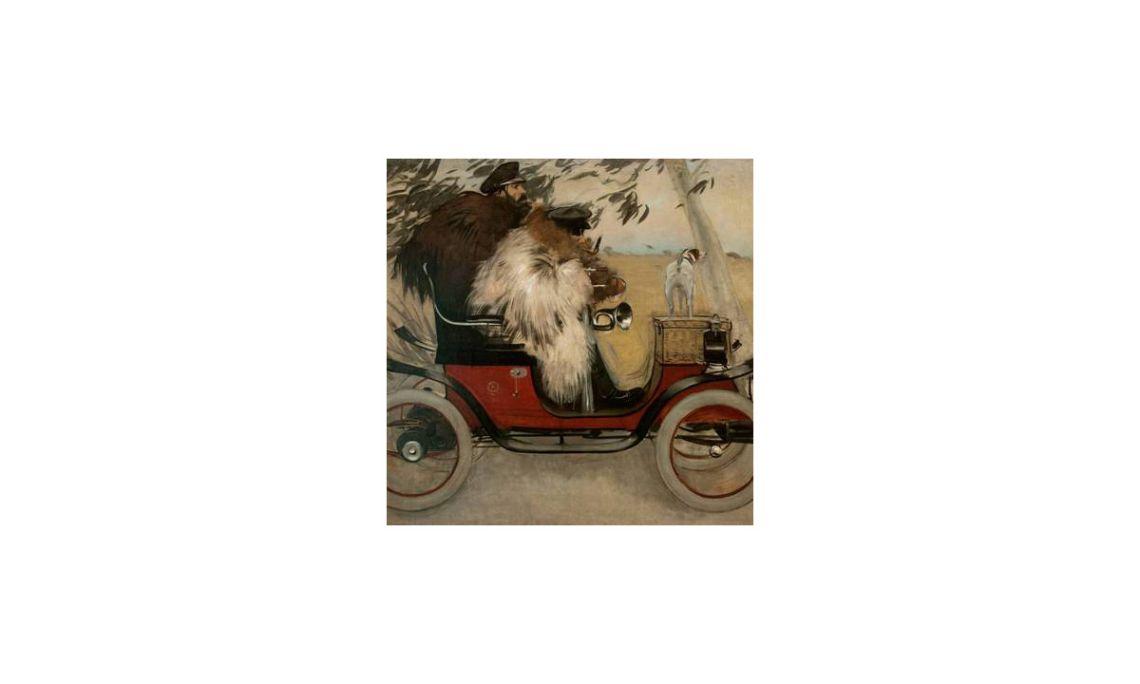 Ramon Casas y Pere Romeu en un automóvil, Ramon Casas, 1901.Óleo sobre lienzo,208 x 291 cm.
