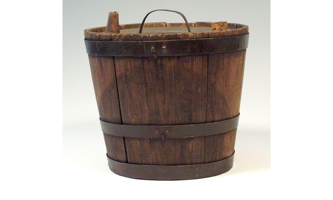 Botijo de madera, sigloXIX, 26,5×29,5cm, Cataluña