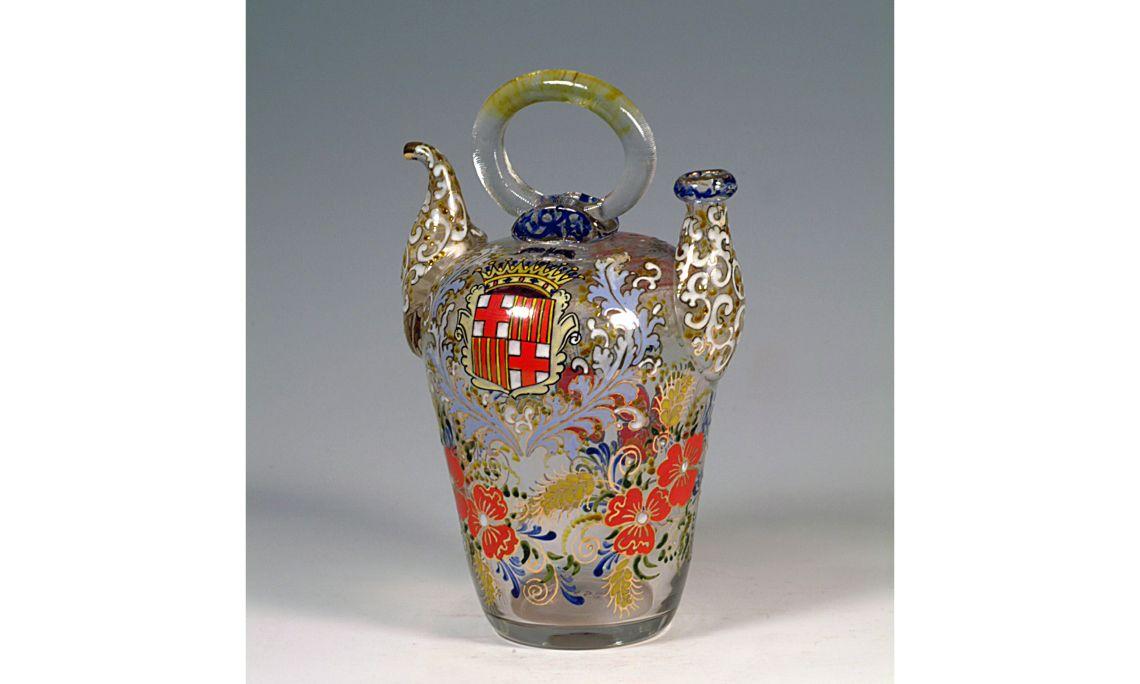 Botijo de vidrio, primer tercio del sigloXX, 28×17,2cm, Barcelona