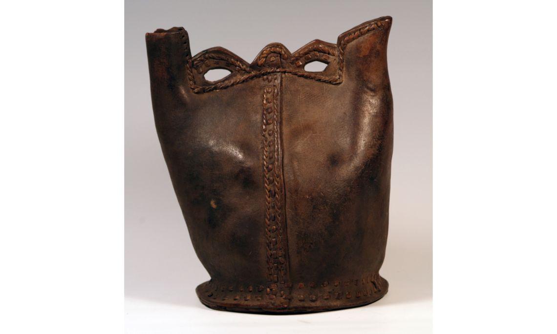 Pichet en cuir, XIXe-XXe siècles, 37,5×27cm, Éthiopie