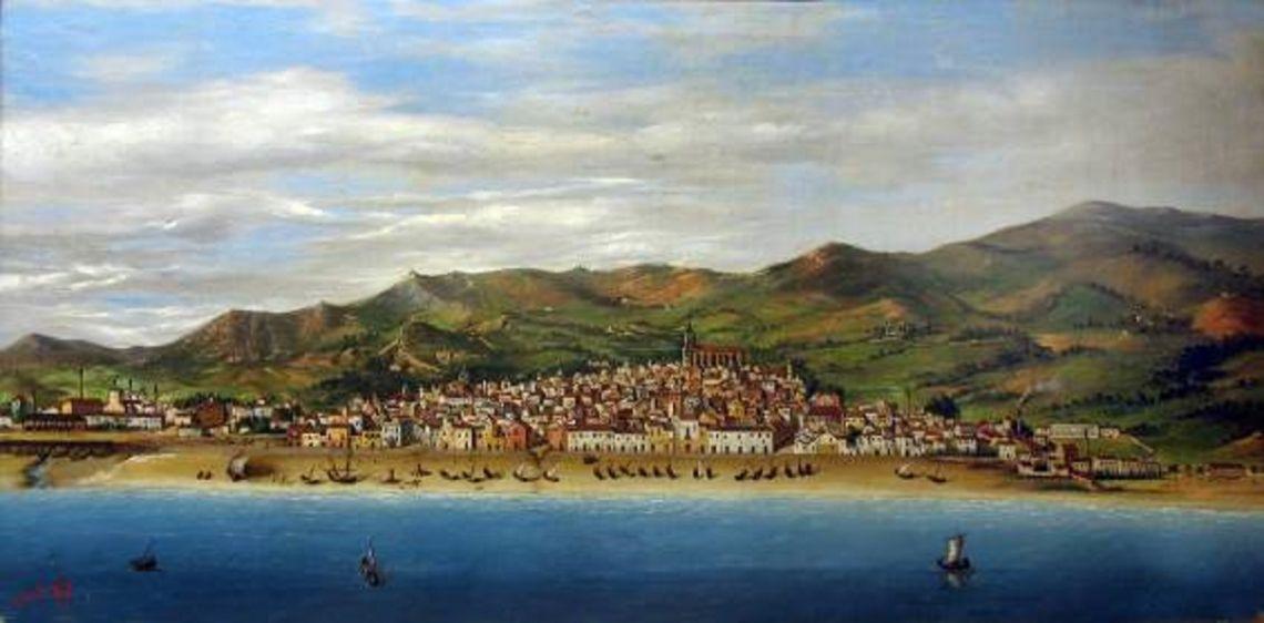 Mataró des del mar, 1872 Laureà Esplugues (s/d) Oli sobre tela 54x104 cm Foto: Museu de Mataró