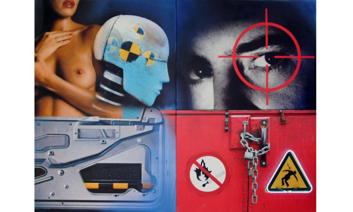 La Bella y el maniquí, Peter Klasen, 2008, acrílico sobre lienzo y neón