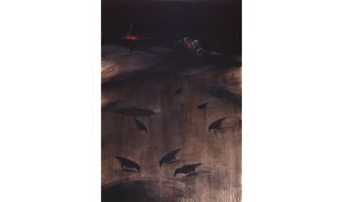 Paysage, Vladimir Veličković, 2001, huile sur toile