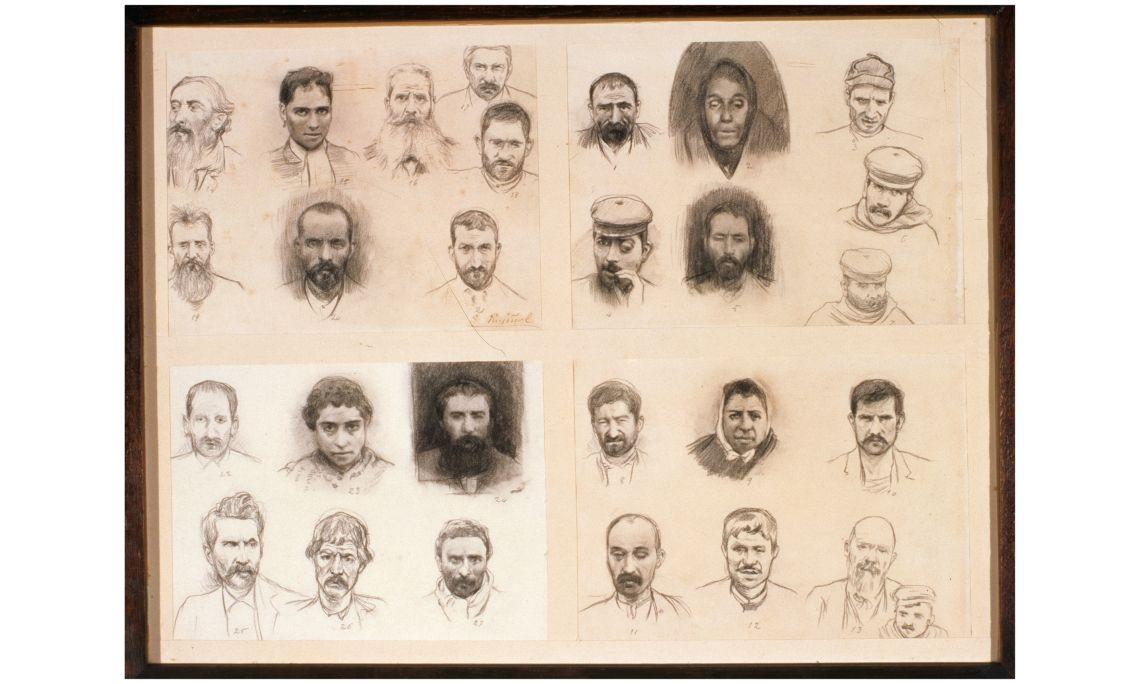 Santiago Rusiñol, Chefs des anarchistes arrêtés pour l'attentat contre le théâtre du Liceu, c. 1893, Barcelone, fusain sur papier