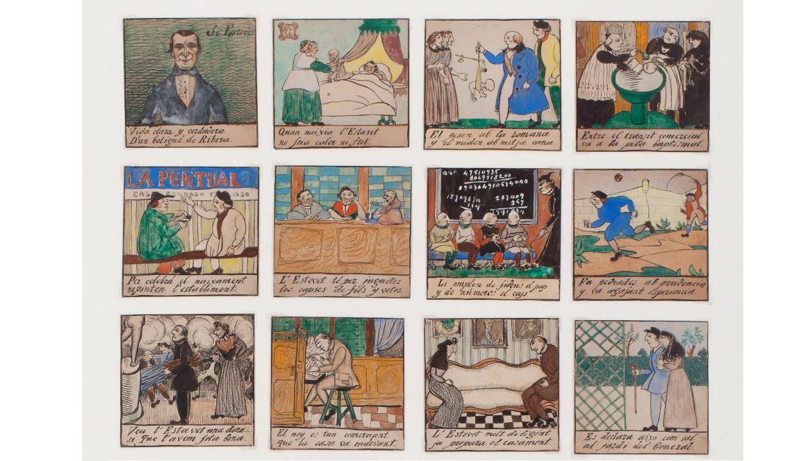 Ramon Casas (dibujos) y Gabriel Alomar (aleluyas), Las aleluyas del señor Esteve, 1907, lápiz grafito, tinta, aguada, acuarela y pastel sobre papel