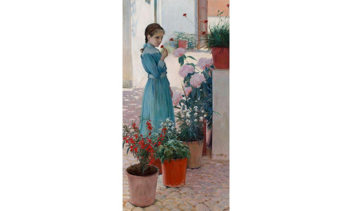 Santiago Rusiñol, La nena de la clavellina (Teresa Mirabent Planas), 1893, Sitges, oli sobre tela