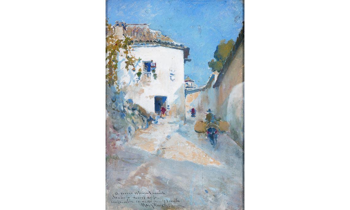 Arcadi Mas i Fondevila, Paisaje de Granada, 1895, óleo sobre tabla