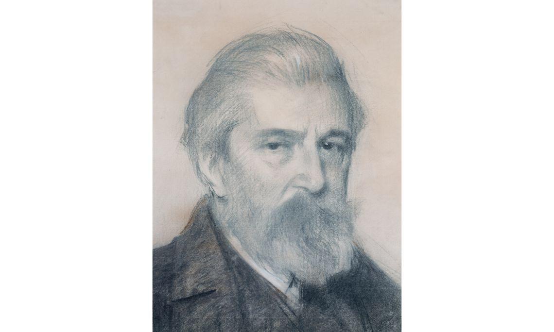 Ramon Casas, Retrato de Santiago Rusiñol, 1926, lápiz carbón, sanguina y pastel sobre papel