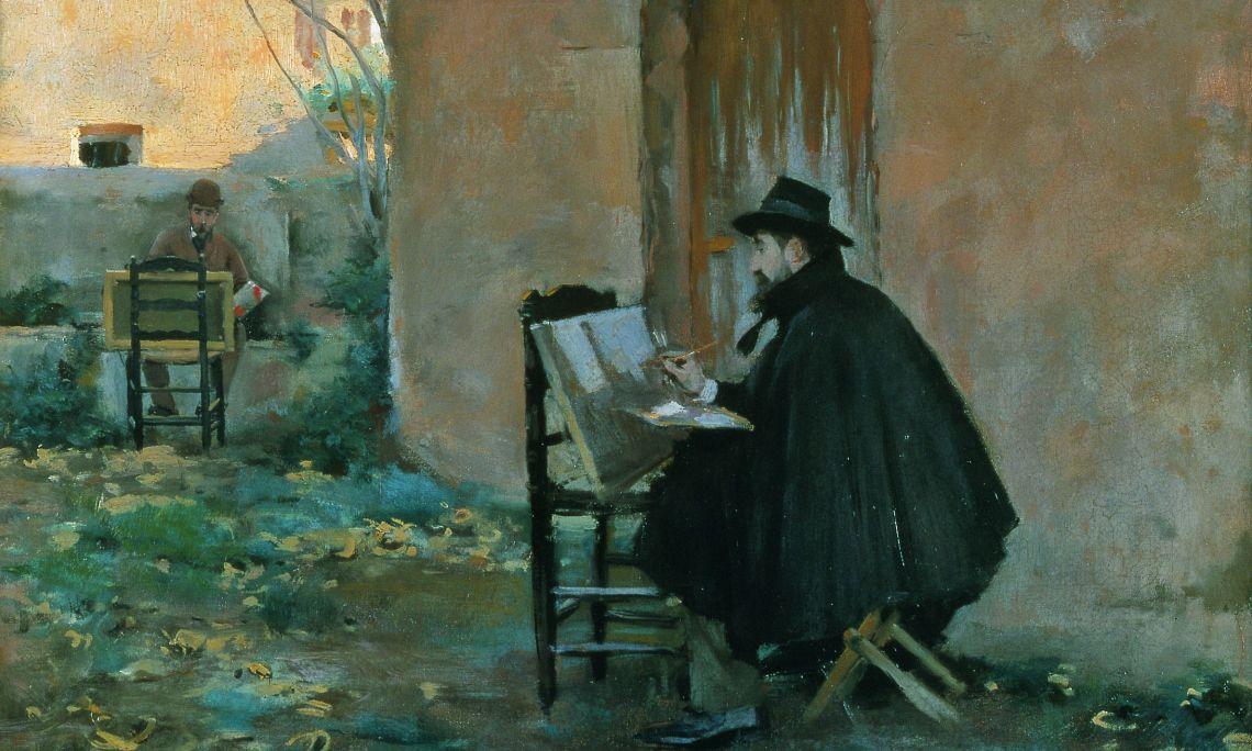 Ramon Casas i Santiago Rusiñol, Retratant-se, 1890, la Cerdanya, oli sobre tela