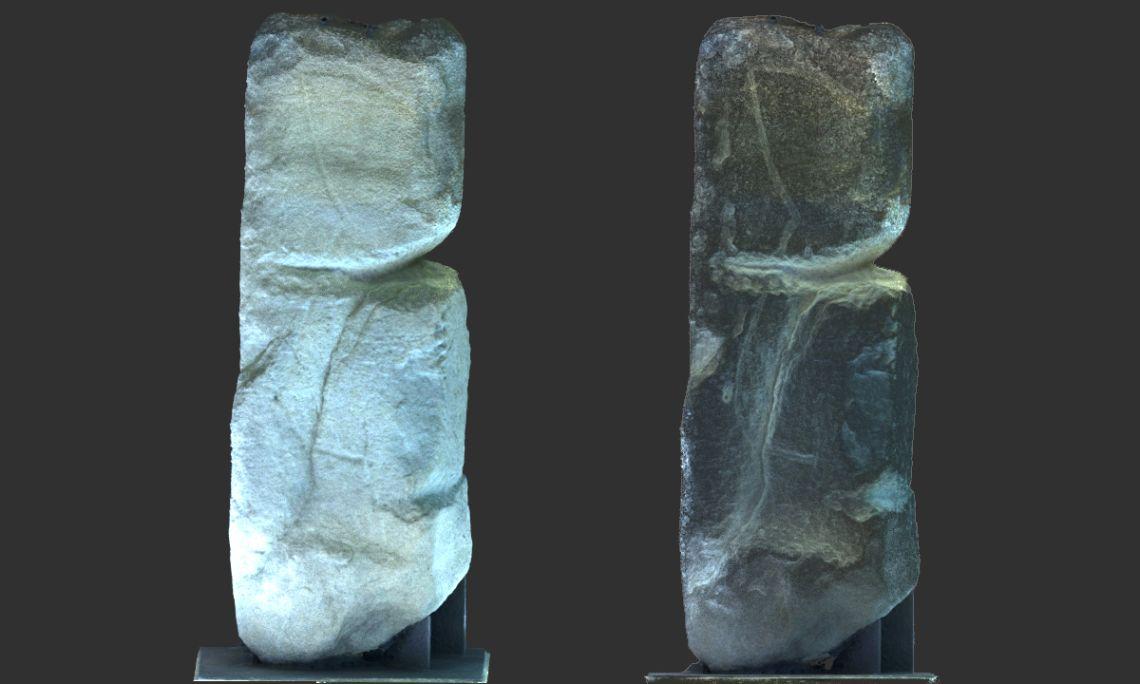 Pedra de Llinàs. A la dreta de la fotografia hi podeu veure una imatge renderitzada que permet apreciar el detall de la inscultura i dels solcs. Autor: Jordi Nogués.