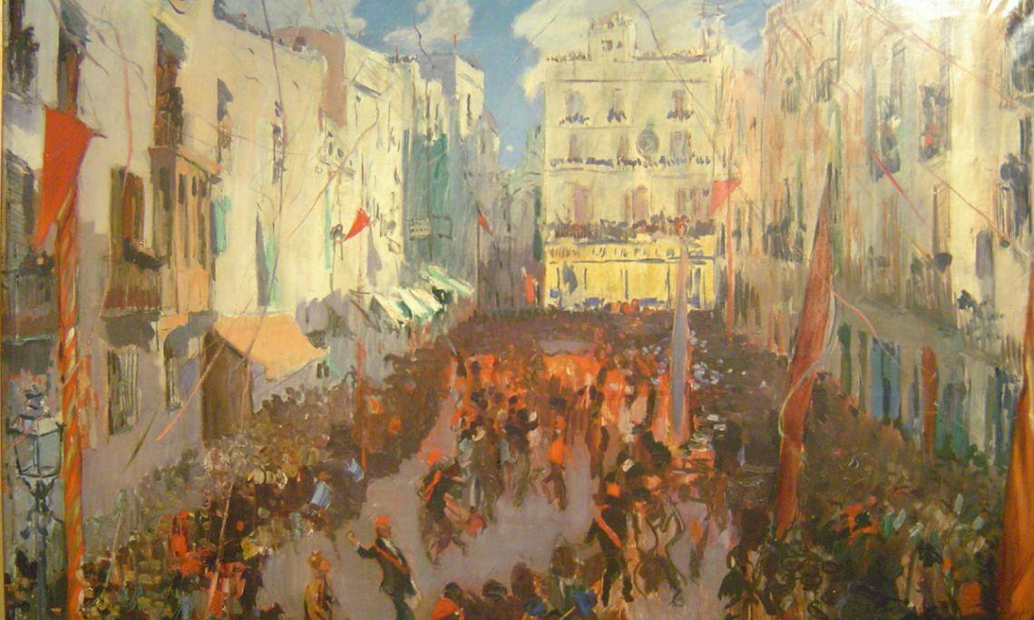 Las comparsas de Vilanova, Joaquim Mir, 1925-1926. Óleo sobre tela, 149×201cm.