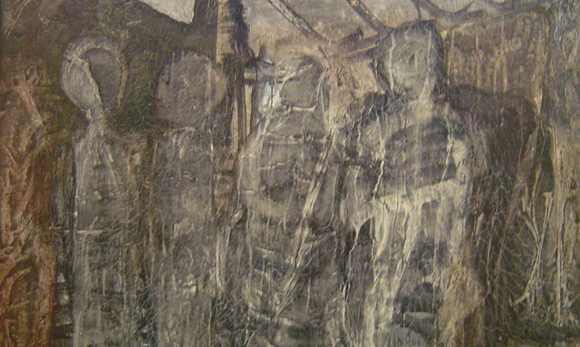 Univers concentracionari, Armand Cardona Torrandell, 1959, aglomerat sobre fusta, 121 × 169 cm