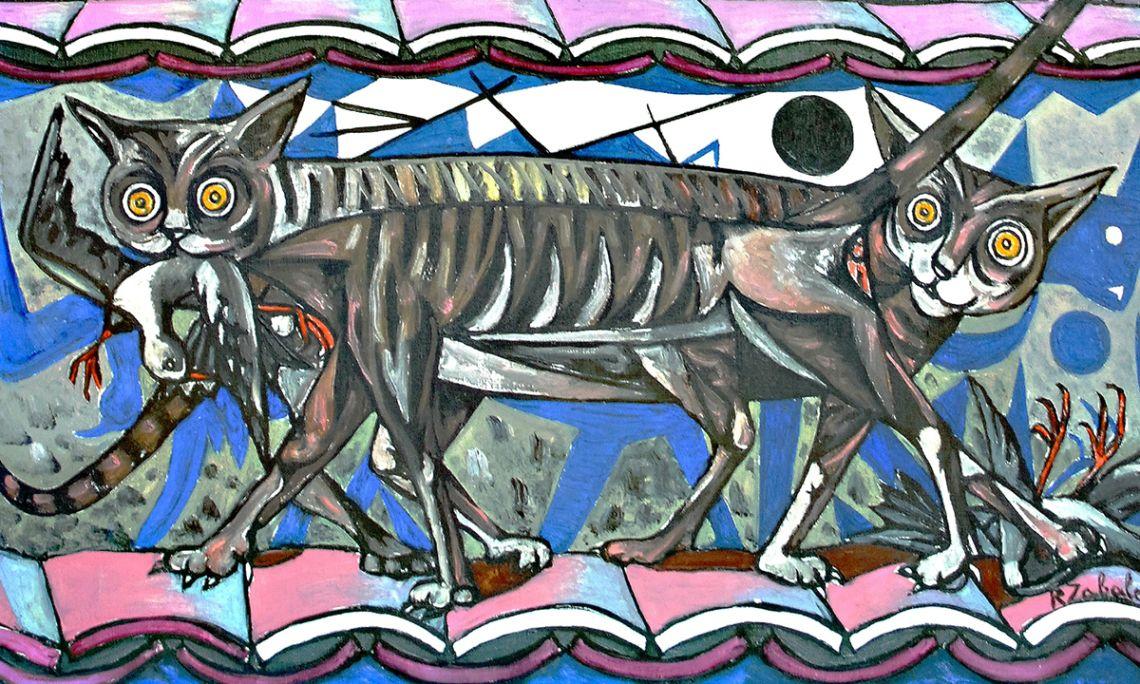 Nocturne of Cats, Rafael Zabaleta, 1956. Oil on canvas, 100×82 cm.