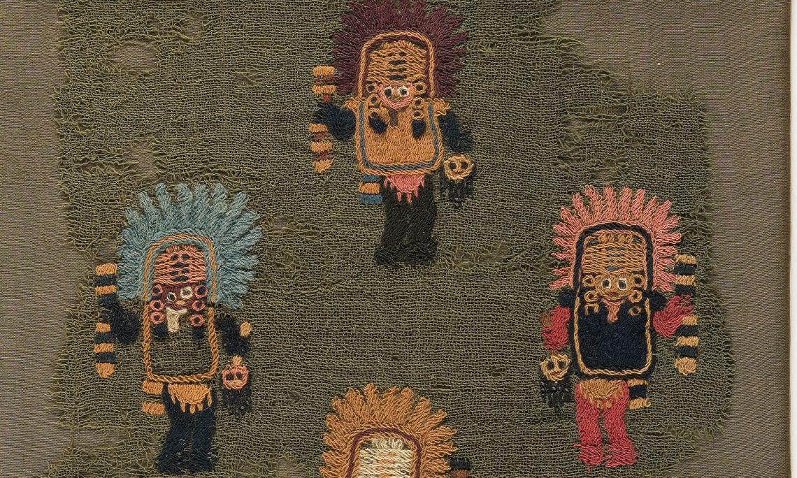 Teixit brodat en pèl de camèlid.Paracas, s.II aC/s.V dC. Foto Quico/CDMT