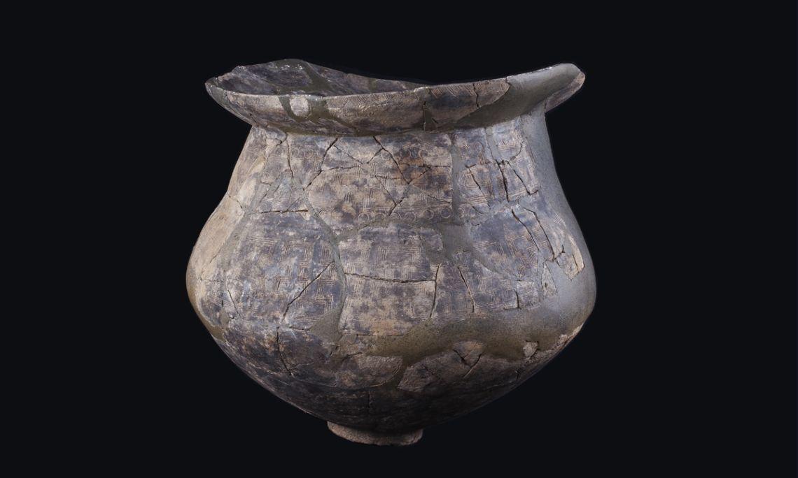 Urna d'incineració,ceràmica a mà, necròpolis del Pi de la Lliura (Vidreres, la Selva), bronze final, 1100-850 aC