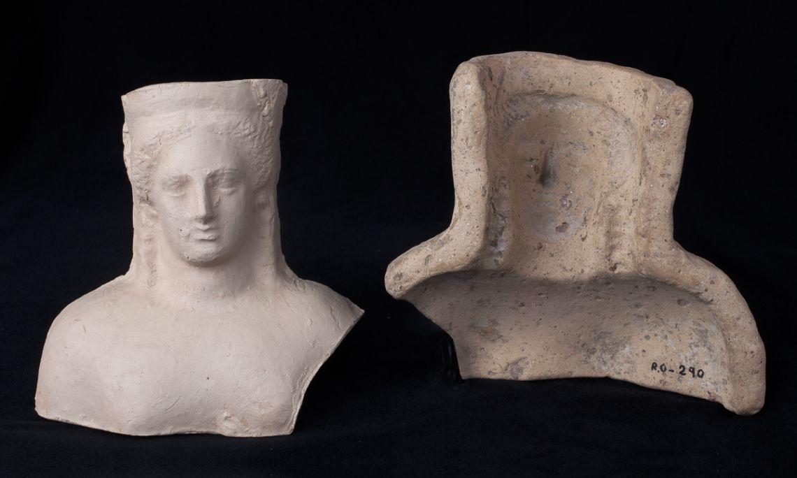 Mould of a female head, terracotta, Rodhe (Roses, Alt Empordà), Iberian period, 3rd century BC