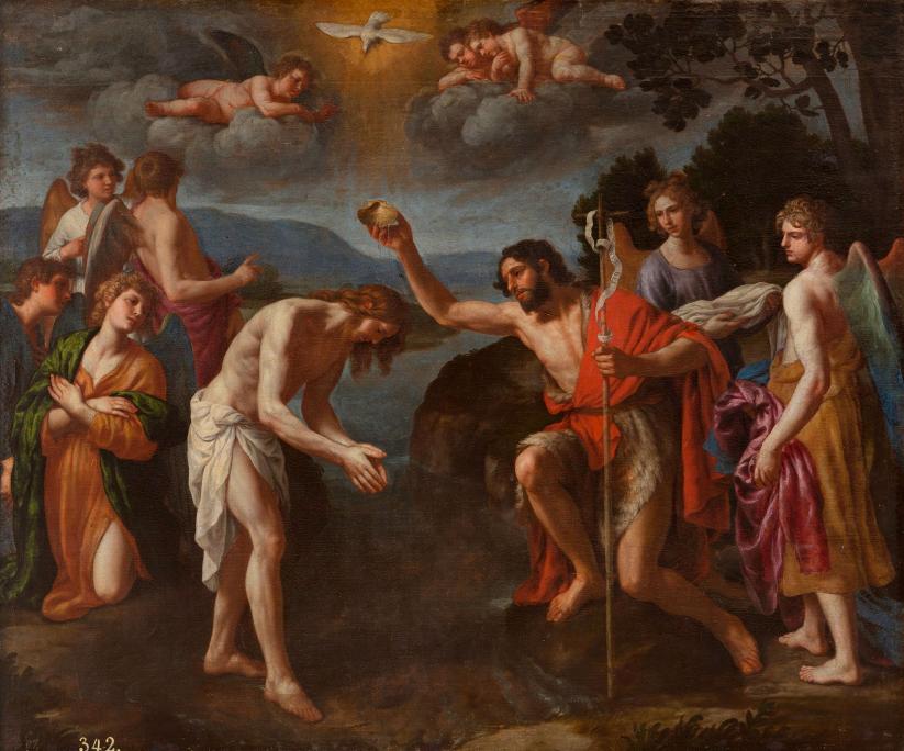 El bateig de Crist,Alessandro Turchi, cap al 1630. Oli sobre tela, 158 x 133 cm. Museu d'Art de Girona - Dipòsit Museo Nacional del Prado.