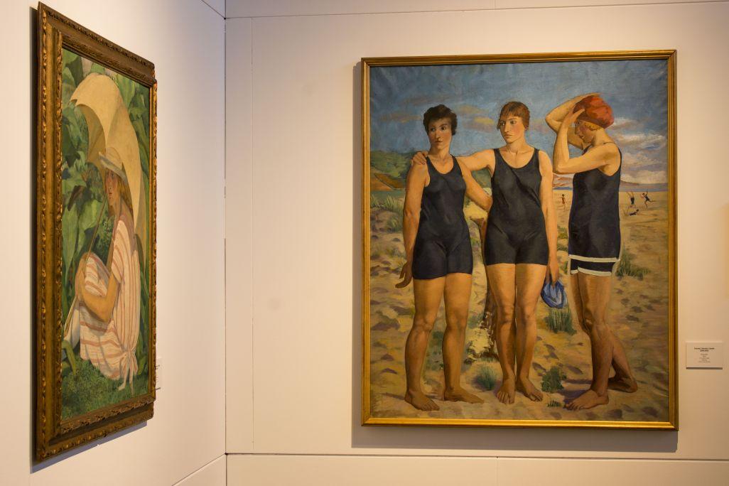 Banyistes, Francesc Vayreda, 1920. Oli sobre tela (145x120 cm). Col·lecció particular: obra en dipòsit al Museu de la Garrotxa.