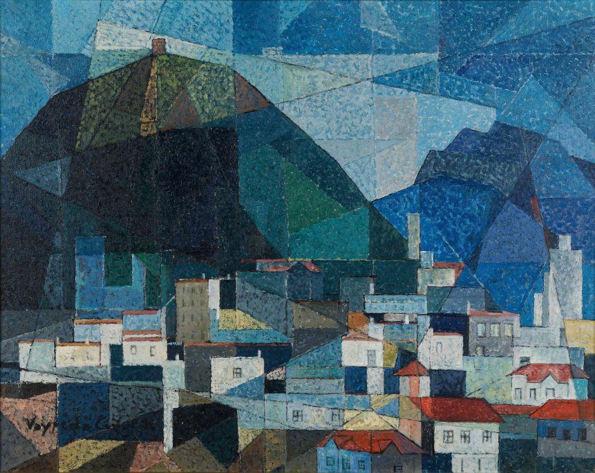 Cases d'Olot(Maisons d'Olot), Josep Maria Vayreda Canadell, 1956. Peinture à l'huile sur toile. Musée de La Garrotxa.