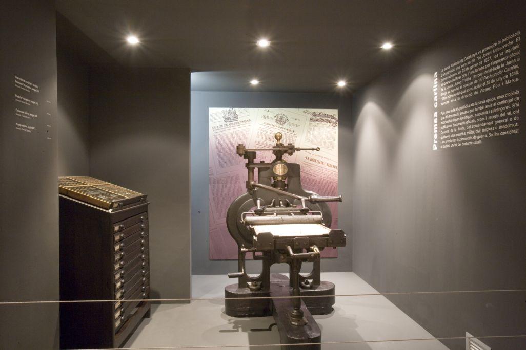 Número de Registre: MCB 412 Premsa d'impressor amb rodet per imprimir fulls de dimensions considerables. Data del segle XIX, 1855.