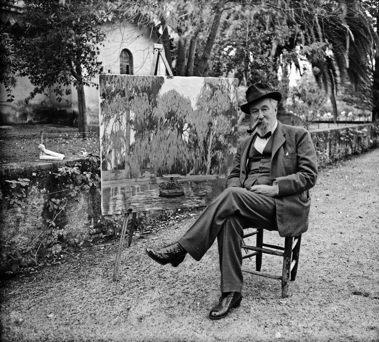 Ramon Calvet i Canal (1903-1979) Santiago Rusiñol pintando en los Jardines de La Granja Vella en Horta (Barcelona), 1930 Copia moderna Institut Amatller d'Art Hispànic - Arxiu Mas, Barcelona