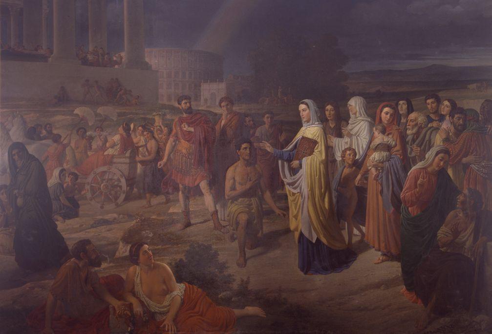 La Era Cristiana, Joaquim Espatller i Rull, 1871. Óleo sobre tela, 275 x 400 cm. Museo de Arte de Girona - Depósito Museo Nacional del Prado.