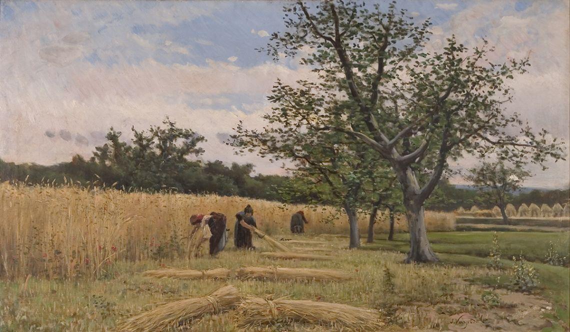 La sega, Joaquim Vayreda i Vila, cap al 1881. Oli sobre tela, 70 x 120 cm. Museu d'Art de Girona - Fons d'Art Diputació de Girona.