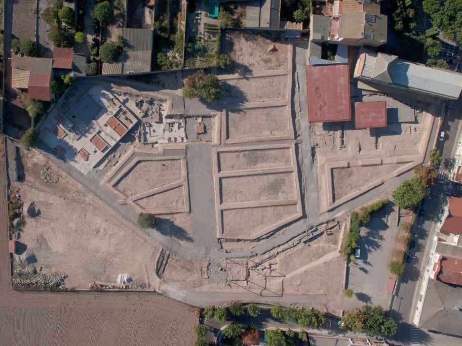 Vista aèria del parc arqueològic de Guissona.
