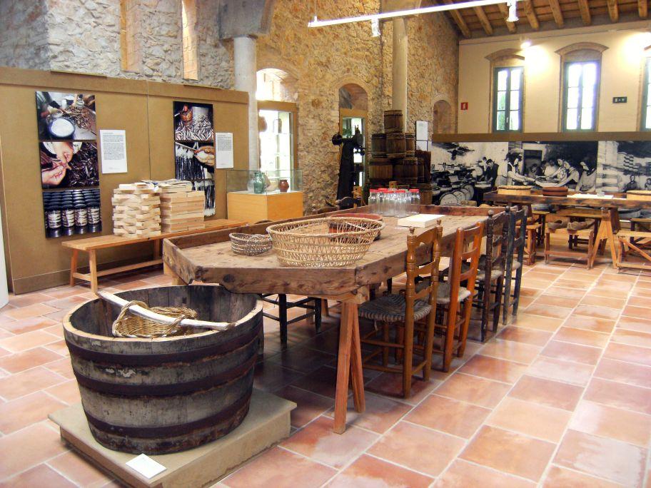 Tinar pel brou i pastera per la salaó de peix, amb bulloles i pots de vidre per vendre les anxoves.