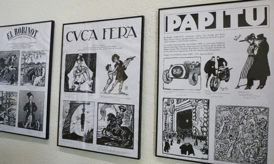 En el museo se muestran algunos de los dibujos que Aragay publicó en las principales revistas y semanarios satíricos del país.