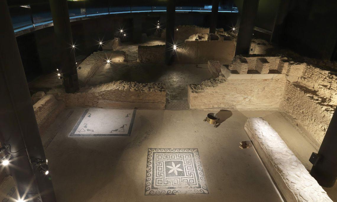Vista general de las termas romanas de Badalona, siglo I a.C. Fotografía de Antonio Guillén, Museo de Badalona.