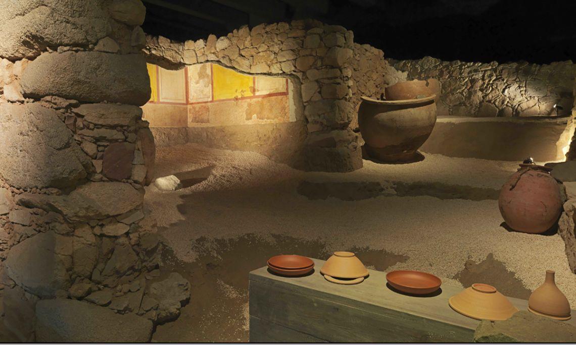 Part del decumanus maximus de la ciutat de Baetulo i d'algunes de les botigues del fòrum. Fotografia d'Antonio Guillén, Museu de Badalona.
