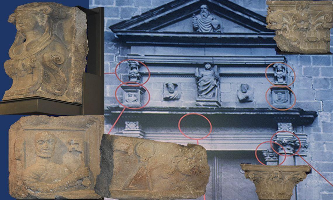 Elements artístics que es van poder salvar de l'església de Santa Eulàlia de Mèrida, enderrocada l'any 1936